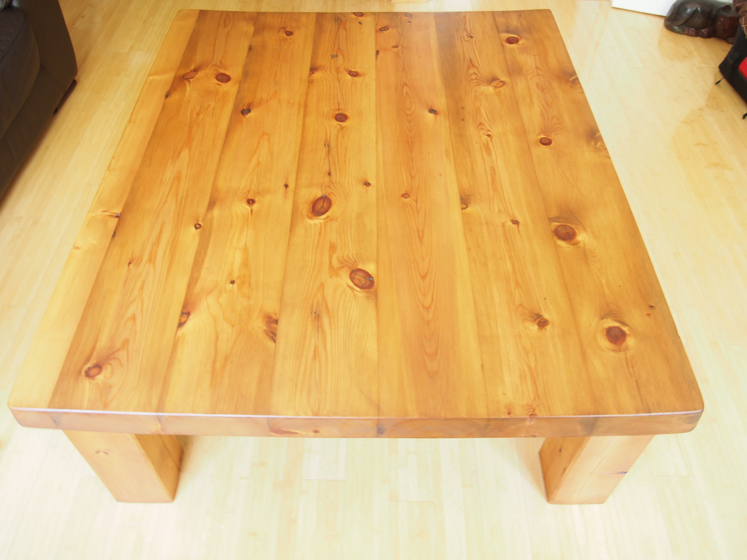 After Restoration of Large Pine Coffee Table   All scratches and dents were to be removed and a light colour finish was to be applied.