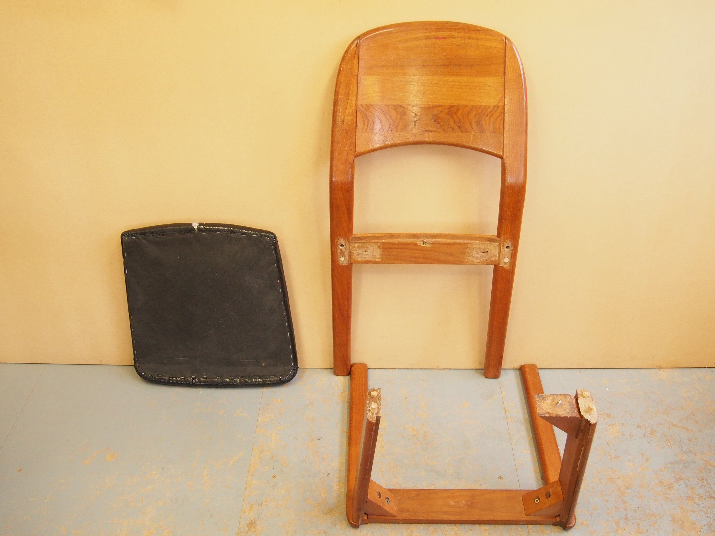 Before Restoration of Cherry Wood Dining Chairs   Original condition of the Cheery Wood Chair had broken joints which required repairing and remaking.