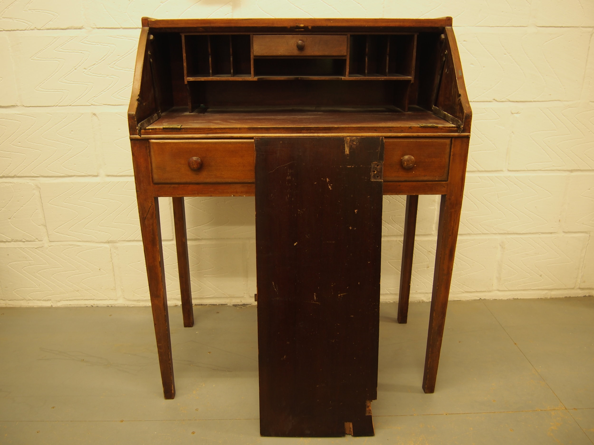 Before Restoration of Cherry Wood Edwardian Bureau   The original condition was scratched, pieces were broken and missing and the entire piece needed re finishing.