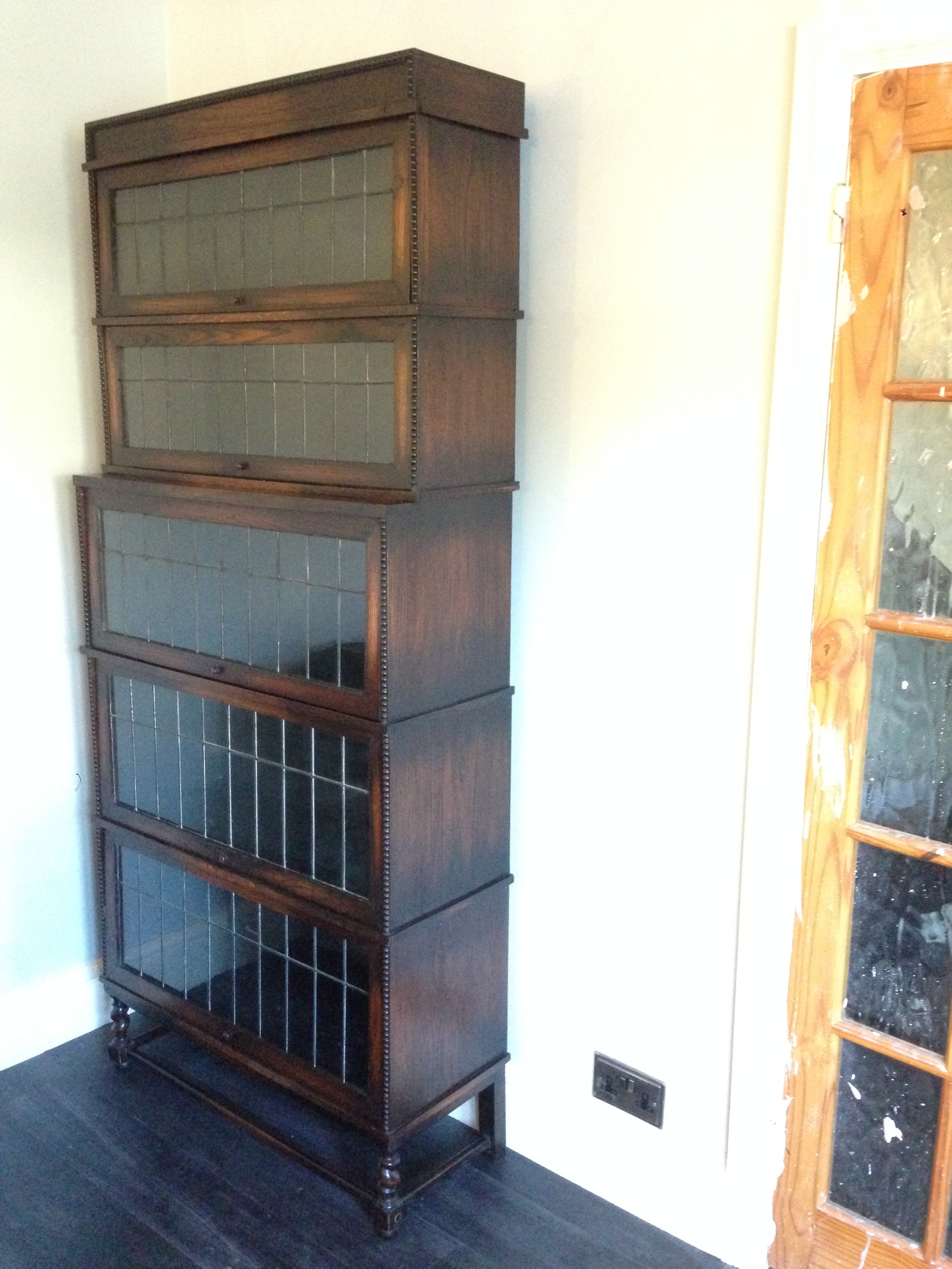After Restoration of Oak Five-Tear Edwardian Bookcase   Fully restored from being a non functional Bookcase that was in separate parts and had missing components.