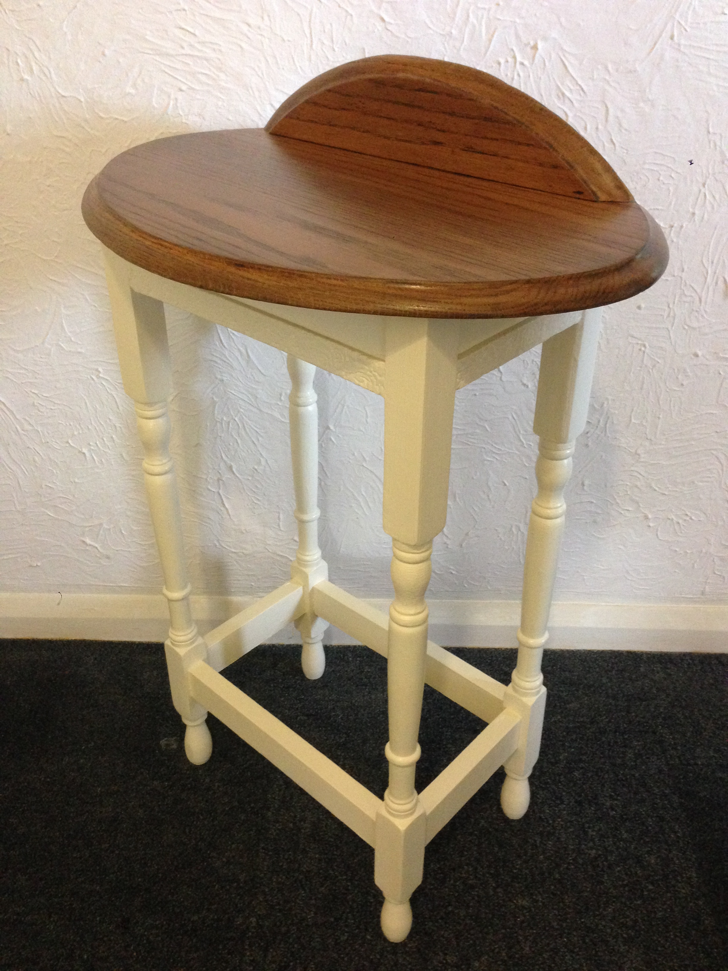 During Restoration of Oak Dressing Table   The table was stripped back and the scratches were removed.