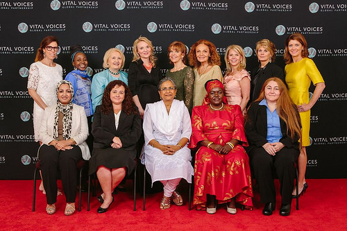 Front row from left to right: Suaad Allami, Iraq; Claudia Paz y Paz, Guatemala; Priti Patkar, India; Dr. Victoria Kisyombe, Tanzania; and Rana Zaitouneh, Syria. Back row from left to right: Laura Alonso, Kah Walla, Melanne Verveer, Alyse Nelson, Susan Ann Davis, Diane von Furstenberg, Vi Holland, Anne Finucane, and Norah O'Donnell. photo by Micky Wiswedel