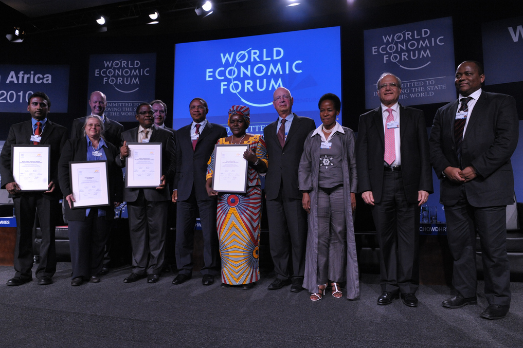 From Left to Right, First Row: Kovin Naidoo ( International Centre for Eyecare Education), Shona Mc Donald, (Shonaquip), Godwin Ehigiamusoe (Lift Above Poverty Organization), H.E. Jakaya M. Kikwete President of Tanzania, Victoria Kisyombe (Sero Lease and Finance Association (SELFINA) and Sero Businesswomen's Association), Prof. Klaus Schwab (Founder and Executive Chairman, World Economic Forum), Anna Tibaiijuka (Undersecretary-General and Executive Director, UN-HABITAT), Ajay Chowdhry (Founder, HCL, Chairman and CEO, HCL Infosystems, India), Kuseni Douglas Dlamini (CEO Old Mutual, South Africa, Co-Chair of World Economci Forum on Africa, 2010, Young Global Leader), Second Row: Jergen Ole Haslestad (President and CEO, Yara International, Norway), Pat Davies (Chief Executive, Sasol, South Africa) at the World Economic Forum on Africa held in Dar es Salaam, Tanzania, May 5, 2010.