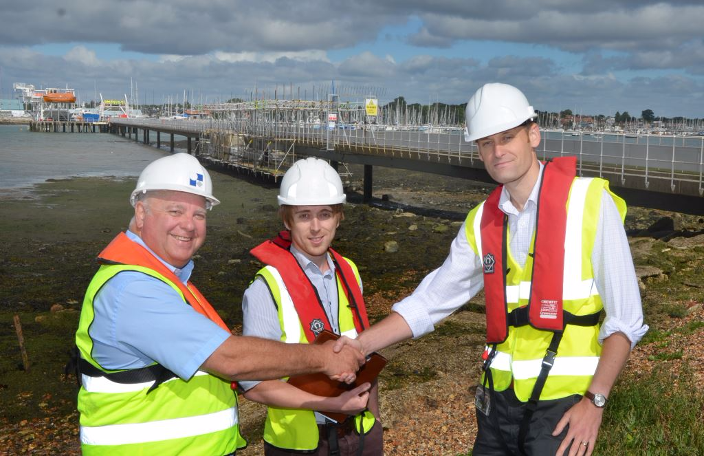 WFBA's Bill Brown and Structural Engineer Oliver Stubbs with Jeff Japes prepare to inspect the quality of work on the Warsash Pier.