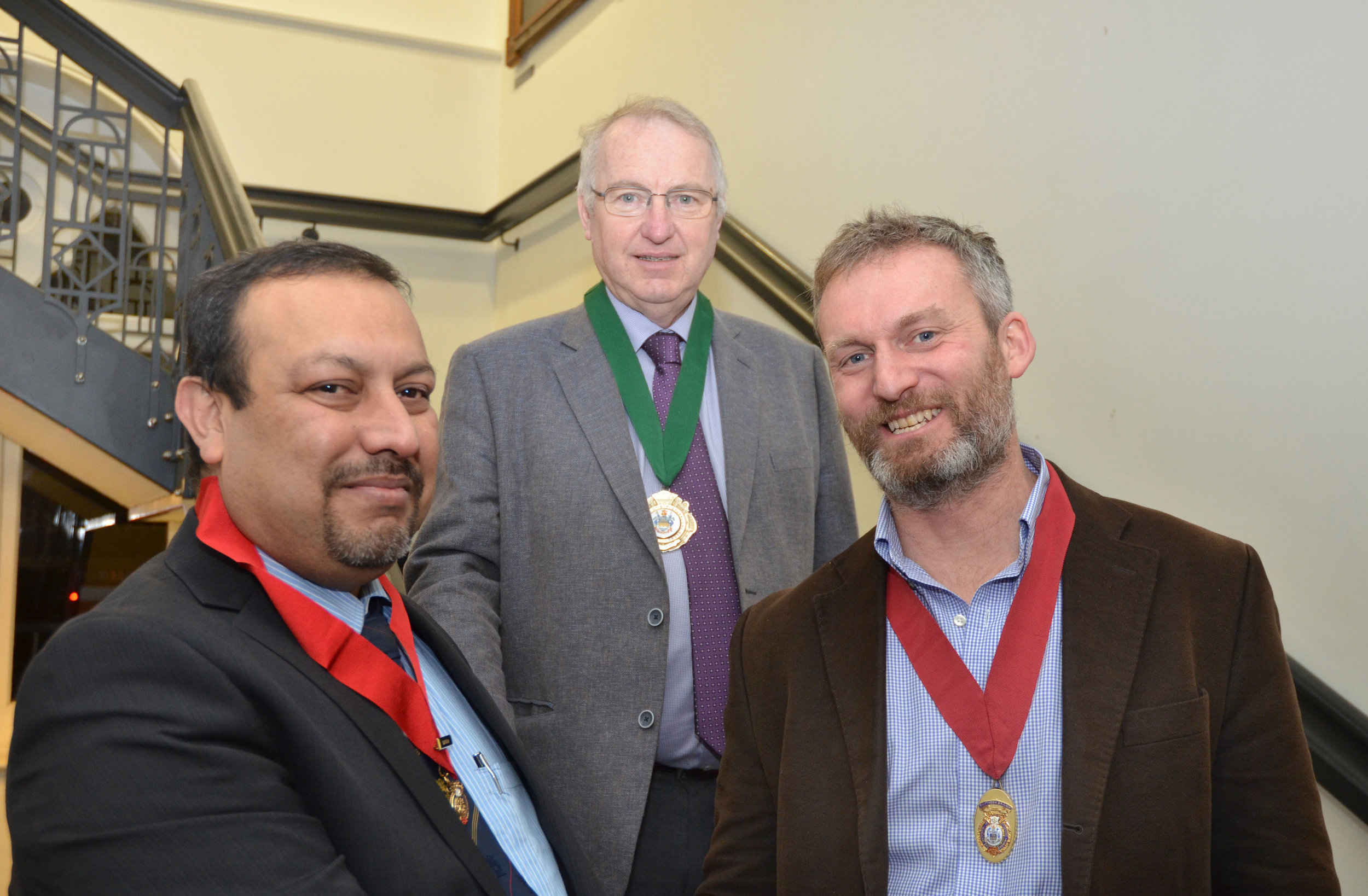Photo Caption:  (from left) Outgoing Chairman Saprava Bhattacharya, Institute President Joe Kindregan and WFBA's Alastair Craig