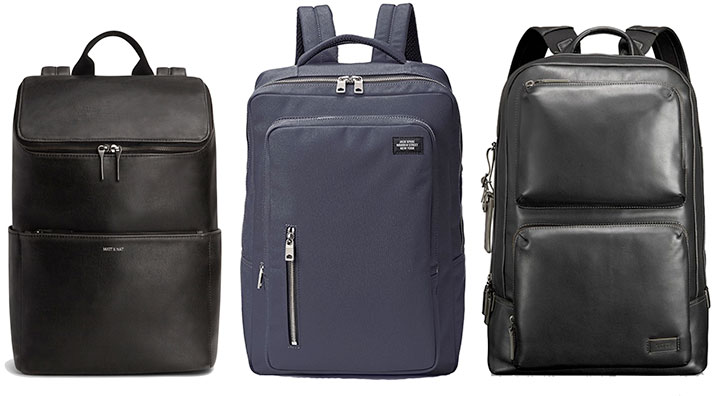 From left to right:  Matt & Nat Dean Backpack  -  Jack Spade Cargo Backpack  -  Tumi Harrison Archer Backpack