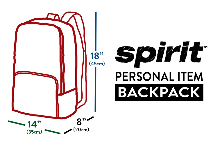 Spirit Airlines personal item backpack dimensions