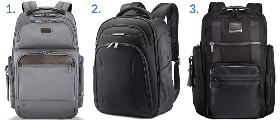 1. Briggs & Riley @work Backpack ( Amazon )  2. Samsonite Xenon 3.0 ( Amazon )  3. Tumi Alpha Bravo Deluxe Brief Pack ( Amazon )