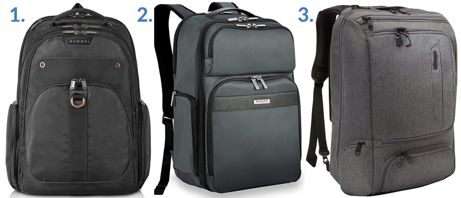 1. Everki Atlas Backpack ( Amazon )  2. Briggs & Riley Transcend Cargo Backpack ( Amazon )  3. eBags Professional Weekender Carry-On ( Amazon )