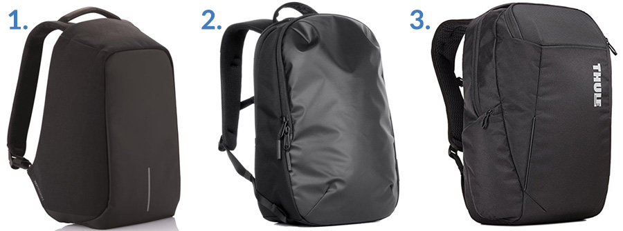 1. XD Design Bobby Anti-Theft Backpack ( Amazon )  2. Aer Day Pack ( Gallantry )  3. Thule Accent Backpack ( Amazon )