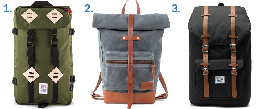 1. Topo Designs Klettersack ( Gallantry )  2. Bradley Mountain Biographer ( Bradley Mountain )  3. Herschel Little America ( Amazon )