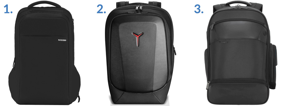 1. Incase Icon ( Amazon )  2. Lenovo Legion Armored Gaming Backpack ( Amazon )  3. Targus Mobile ViP+ Backpack with Wireless Phone Charger ( Targus )