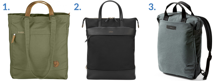 1. Fjallraven Totepack No. 1 ( Amazon )  2. Targus Newport Convertible 2-in-1 ( Targus )  3. Bellroy Duo Totepack ( Amazon )