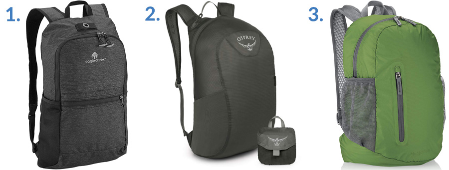 1. Eagle Creek Packable Daypack ( Amazon )  2. Osprey Ultralight Stuff Pack ( Amazon )  3. AmazonBasics Ultralight Packable Day Pack ( Amazon )
