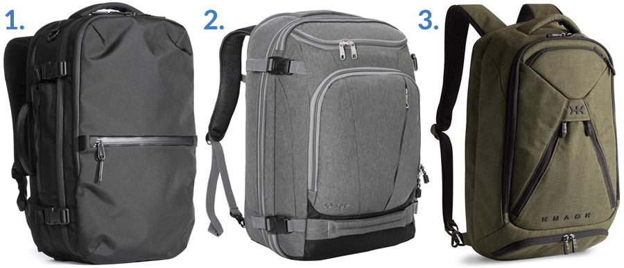 1. AER Travel Pack 2 ( Gallantry )  2. eBags TLS Mother Lode ( Amazon )  3. Knack Medium Expandable Knack Pack ( KNACK )