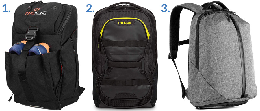 1. King Kong Backpack ( Amazon )  2. Targus Work and Play Fitness Backpack ( Amazon )  3. Aer Fit Pack 2 ( Gallantry )