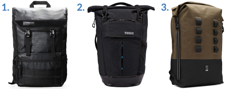 1. Timbuk2 Rogue Backpack ( Amazon )  2. Thule Paramount Pack ( Amazon )  3. Chrome Industries Urban EX ( Gallantry )