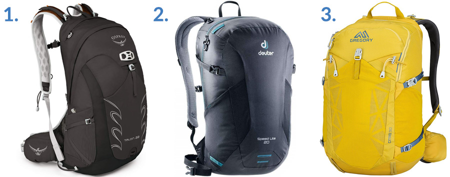 1. Osprey Talon 22 Hiking Backpack ( Amazon )  2. Deuter Speed Lite 20 Pack ( Amazon )  3. Gregory Mountain Citro Daypack ( Amazon )
