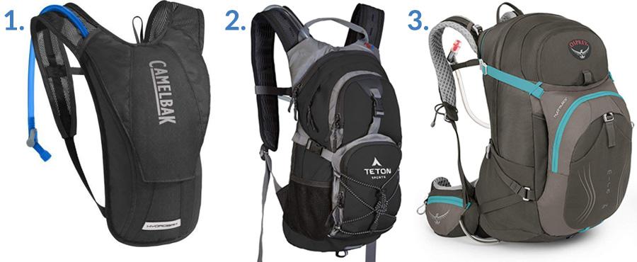 1. Camelbak HydroBak Hydration Pack ( Amazon )  2. Teton Sports Oasis 1100 Hydration Pack ( Amazon )  3. Osprey Women's Mira AG ( Amazon )