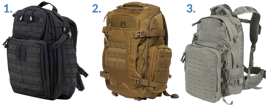 1. 5.11 RUSH24 ( Amazon )  2. Cannae Legion Elite Day Pack ( Amazon )  3. Direct Action Ghost Tactical Backpack ( Amazon )