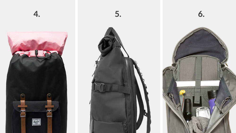Types of backpacks - Main compartment access: Drawstring, rolltop and Y-Access