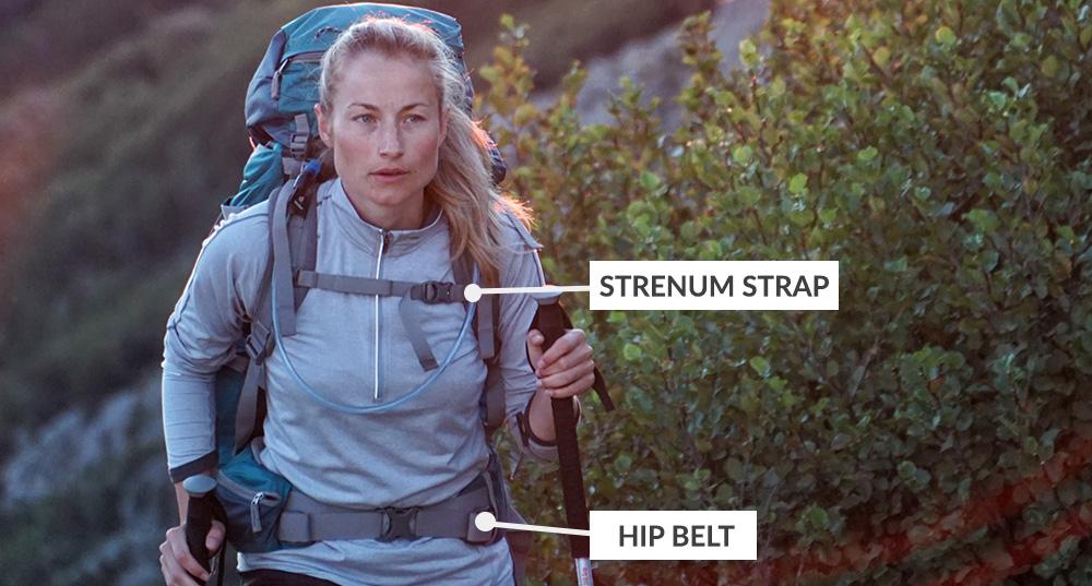 Types of backpack straps - Sternum strap and hip belt