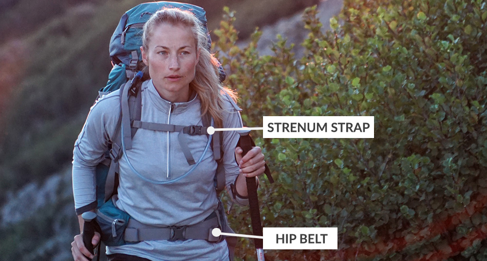 Types of backpack straps - Sternum strap and hip belt