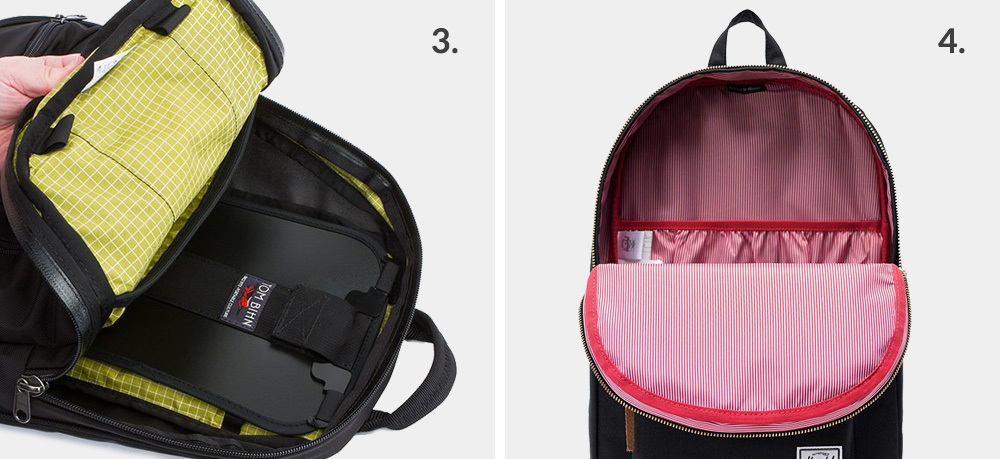Backpack with frame sheet and frameless backpack example