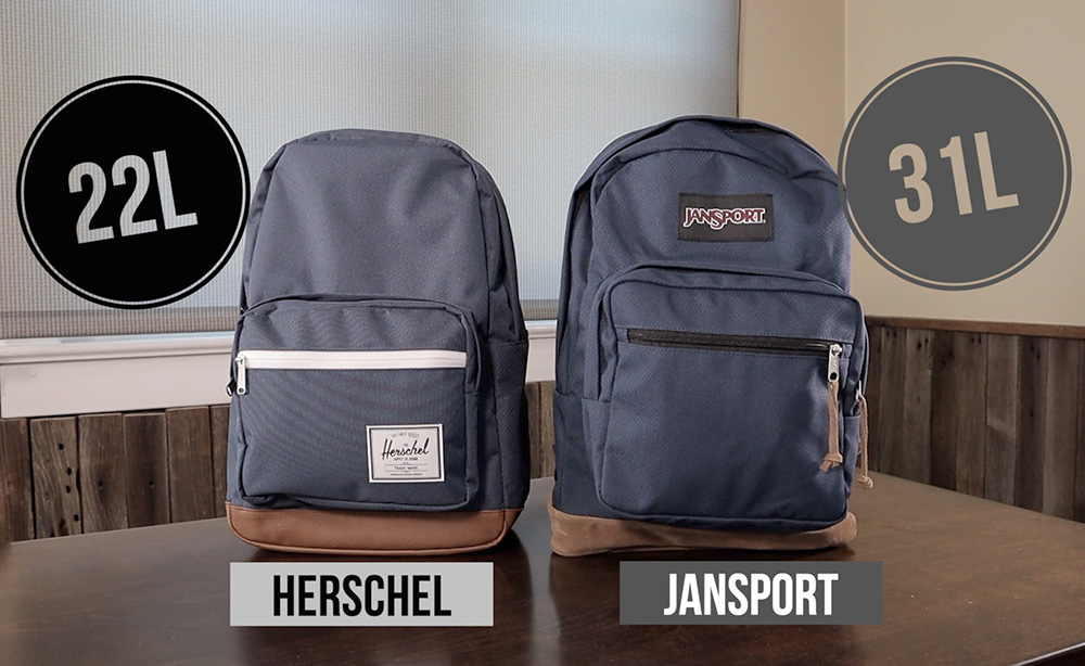 JanSport Right Pack vs Herschel Pop Quiz size comparison