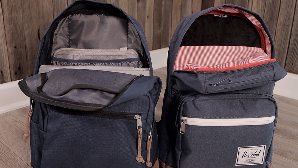 JanSport Right Pack (left) vs Herschel Pop Quiz (right) internal lining differences