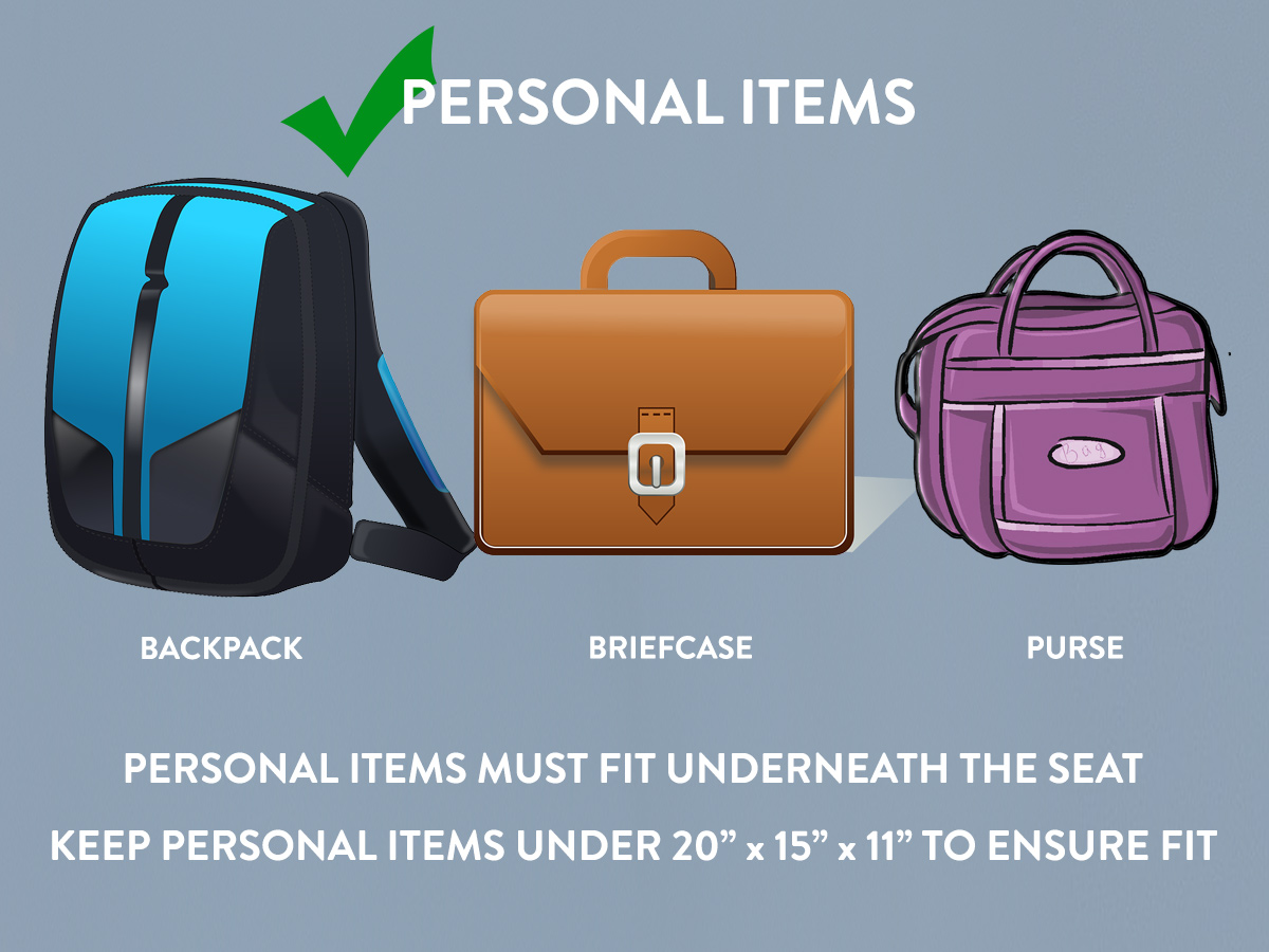 Delta personal item size