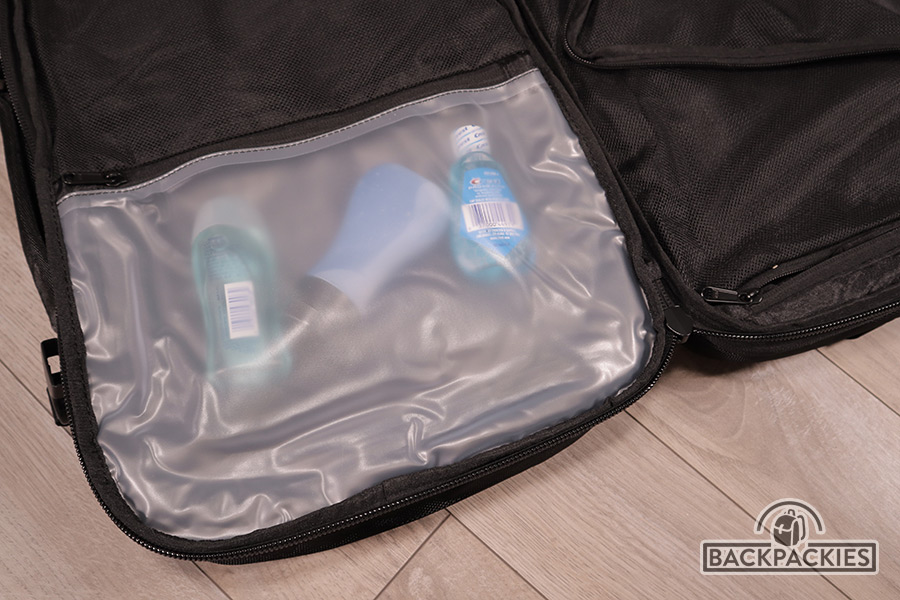 Plastic spill-proof toiletries pocket