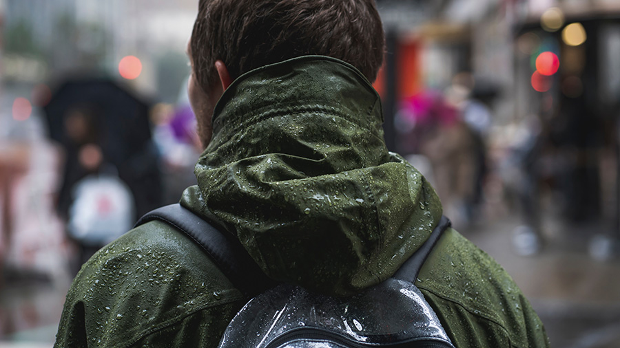 College student with waterproof backpack