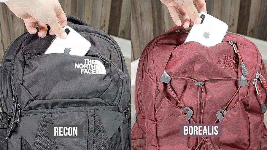 North Face Recon vs Borealis: Front fleece lined pocket