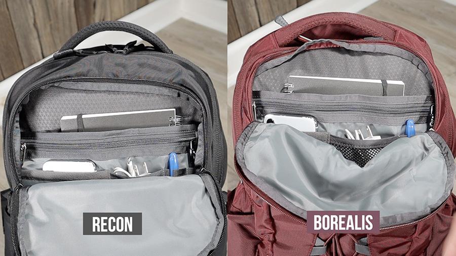 North Face Borealis vs Recon: Front organizer pocket comparison