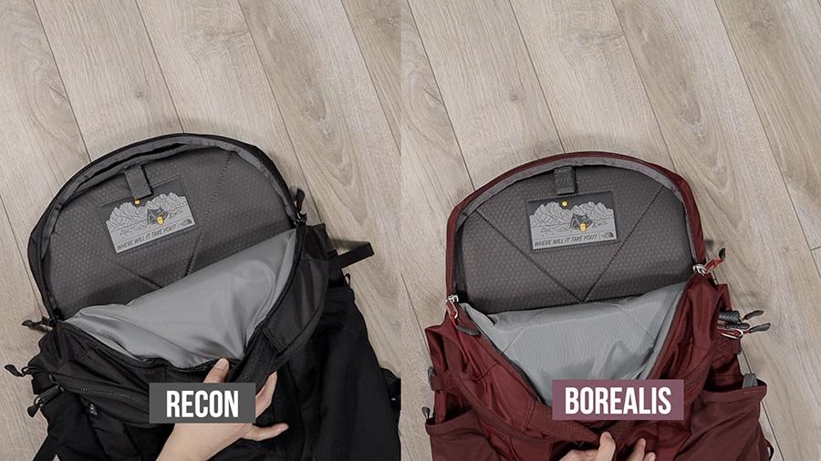 North Face backpacks Borealis vs Recon laptop sleeve