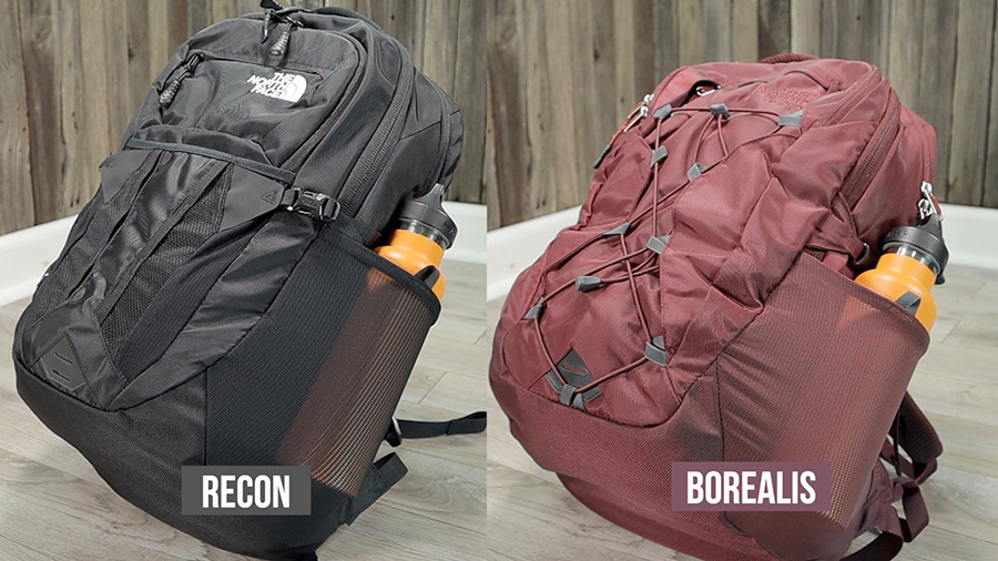 North Face Borealis vs Recon: Stretch side water bottle pockets