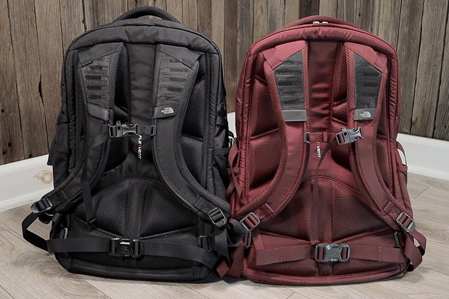 Identical back panels and shoulder straps.