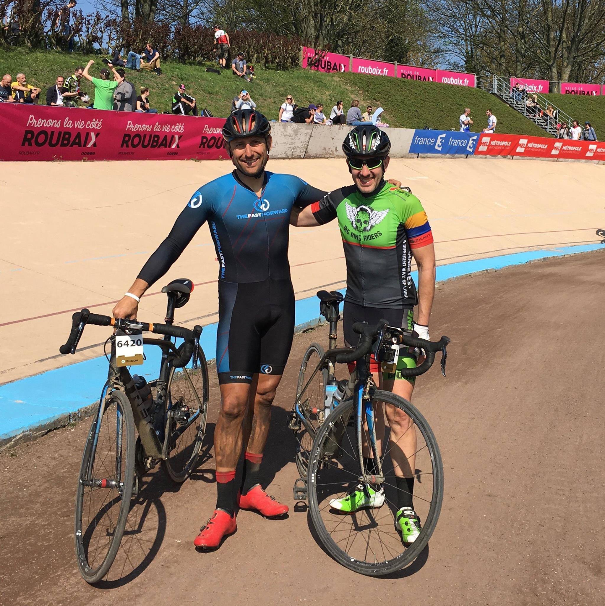 Fast Forward Founder Pat Miller and Big Ring Rider Founder Warren Marshall post Paris Roubaix 2017.