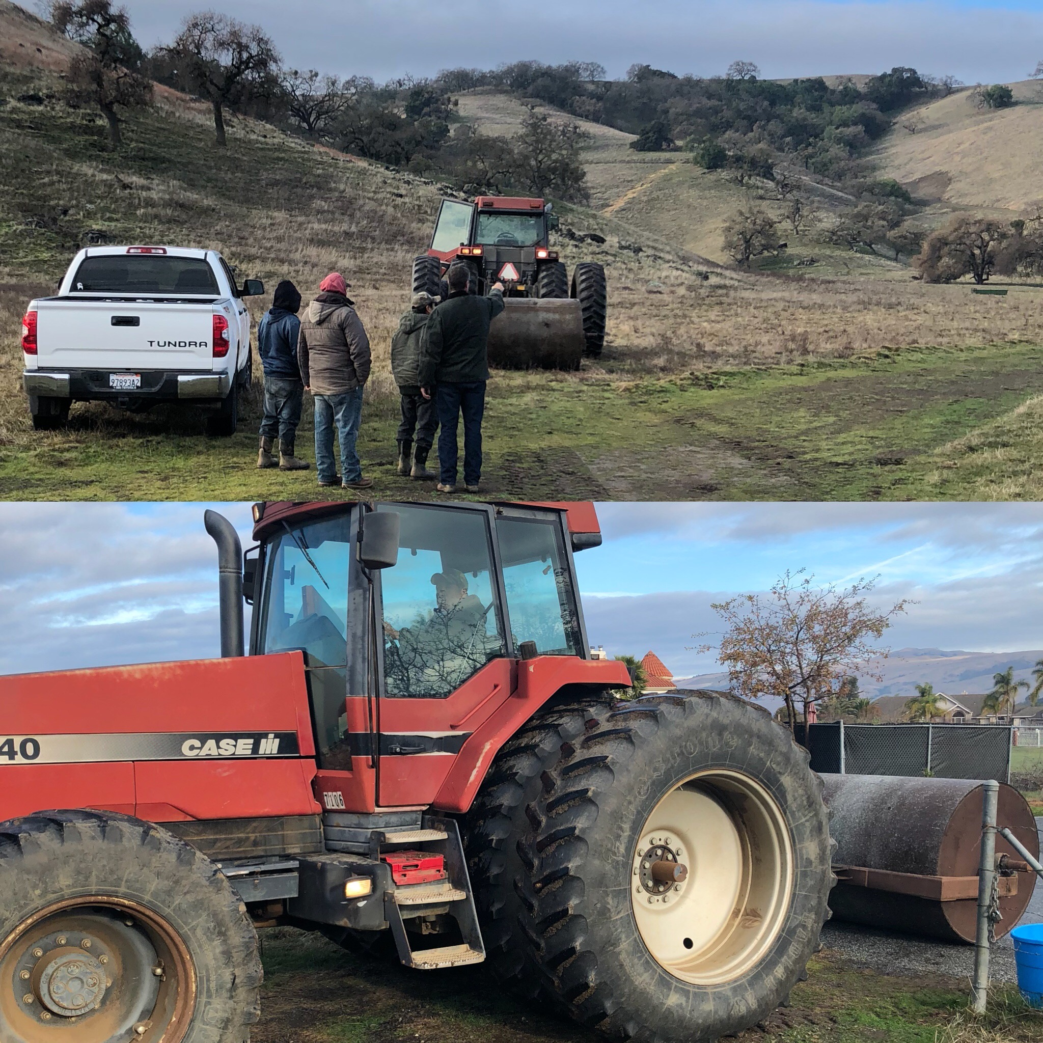 Tractor,roller and team from the Grass Farm to the rescue.