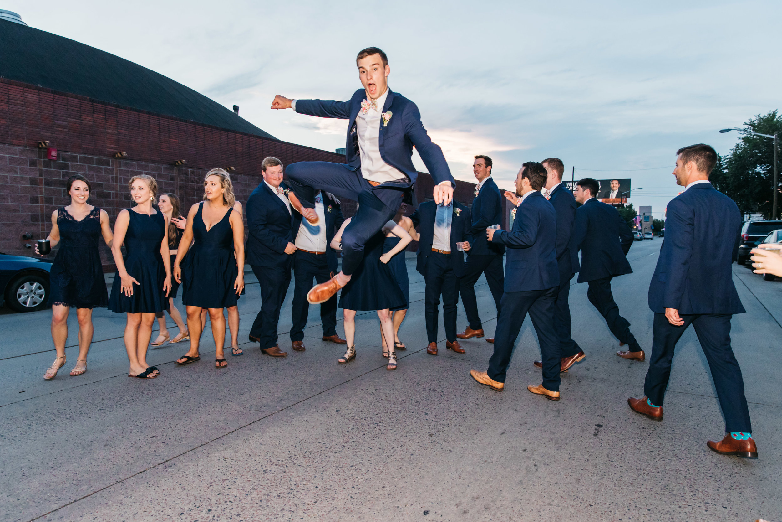 jumping wedding party denver