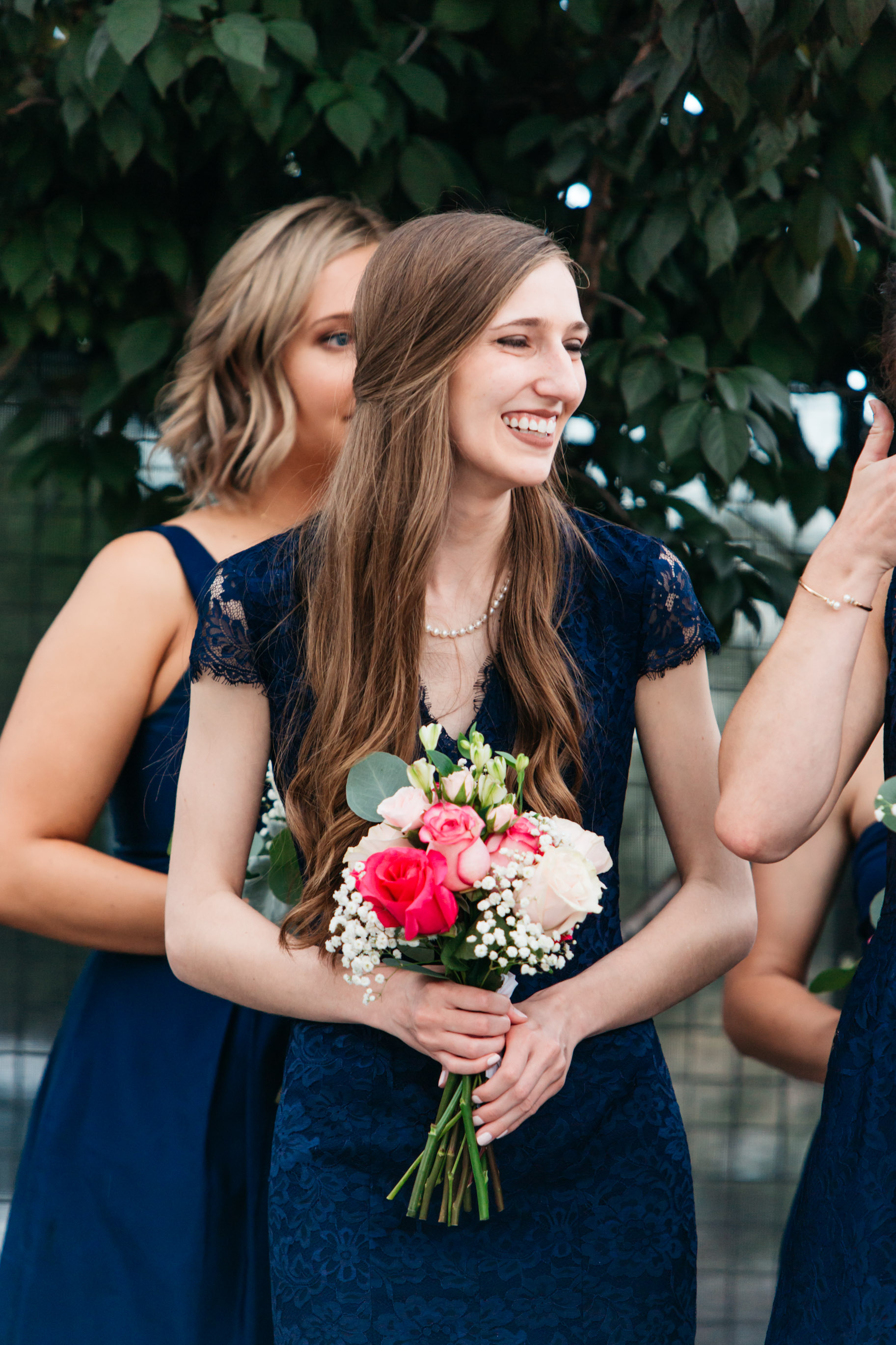 Sister bridesmaids long hair