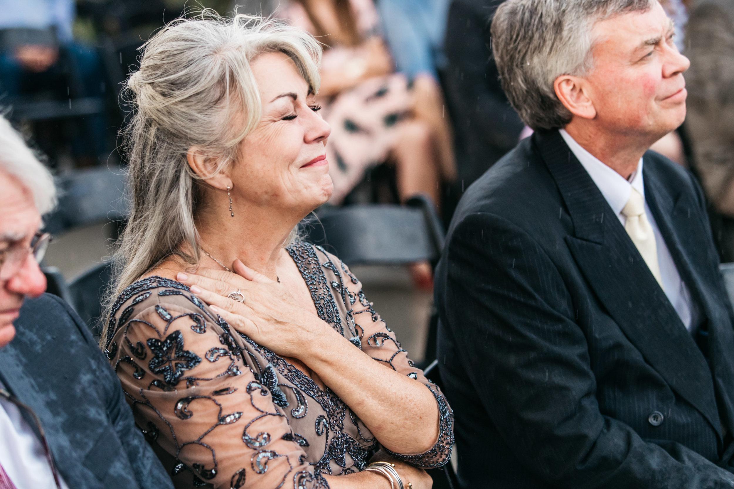 emotional mom rainy ceremony