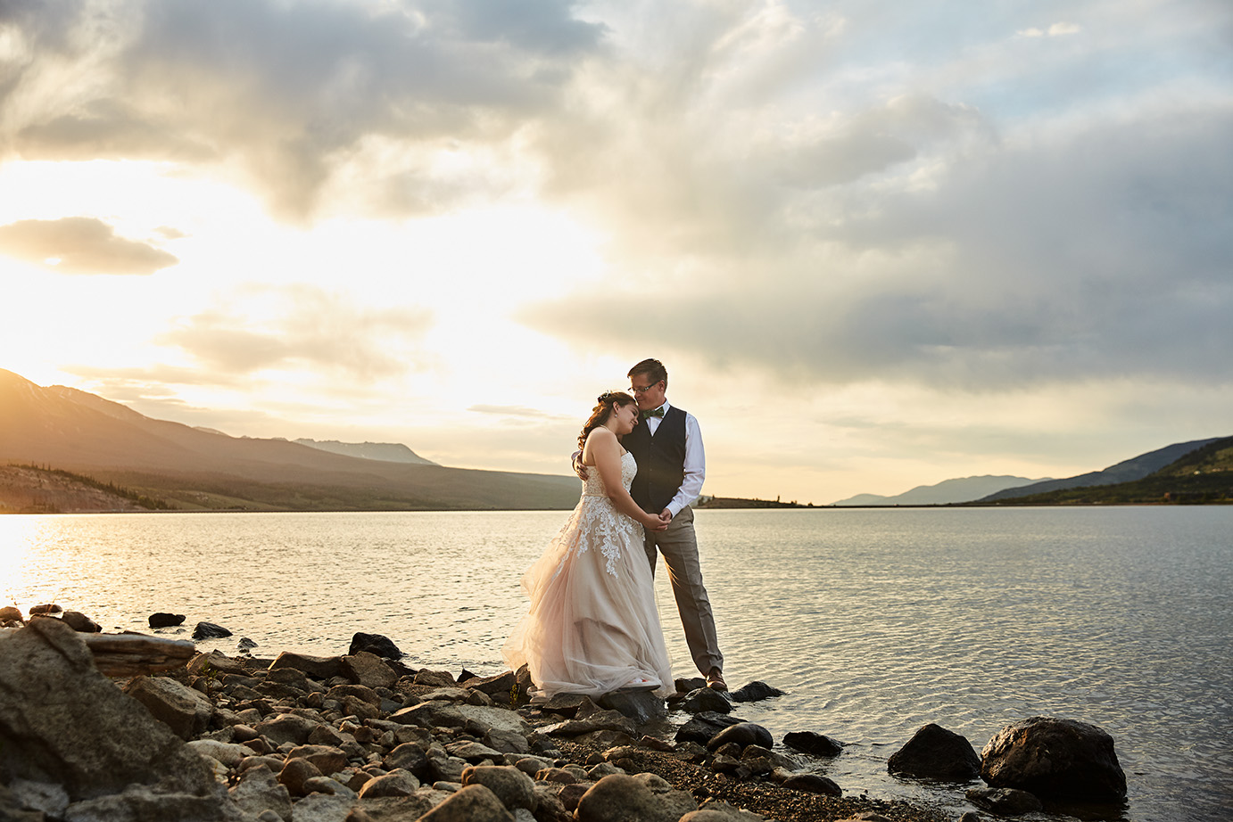Windy Point Campground Wedding - Lake Dillon, CO | Floral Sneakers | Wedding Pie | Flower Girl Dog | Ring Bearer Dog | Lake Family Photos | Bow-Ties | Sunset on the Lake