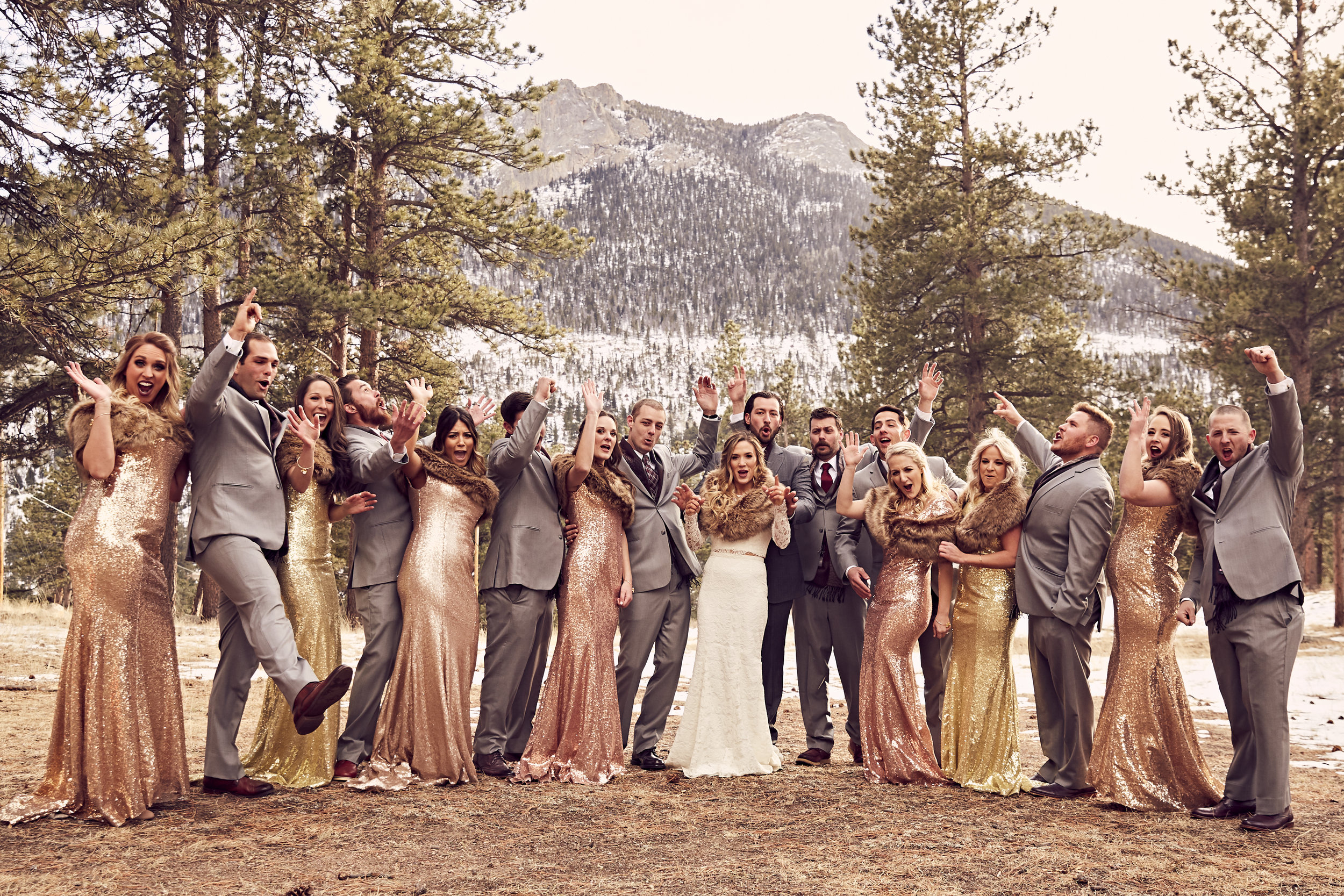 Della Terra Mountain Chateau Winter Wedding - Winter Wedding | Sparkly Bridesmaid Dresses | Fur | Fire | Groomsmen Scarfs | Red Velvet | Snow
