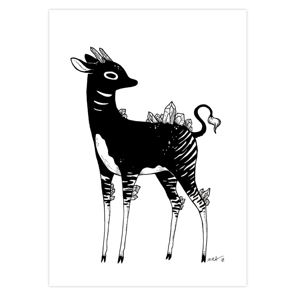 """Crystalline Okapi"" Pen+Ink, 5"" x 7"""