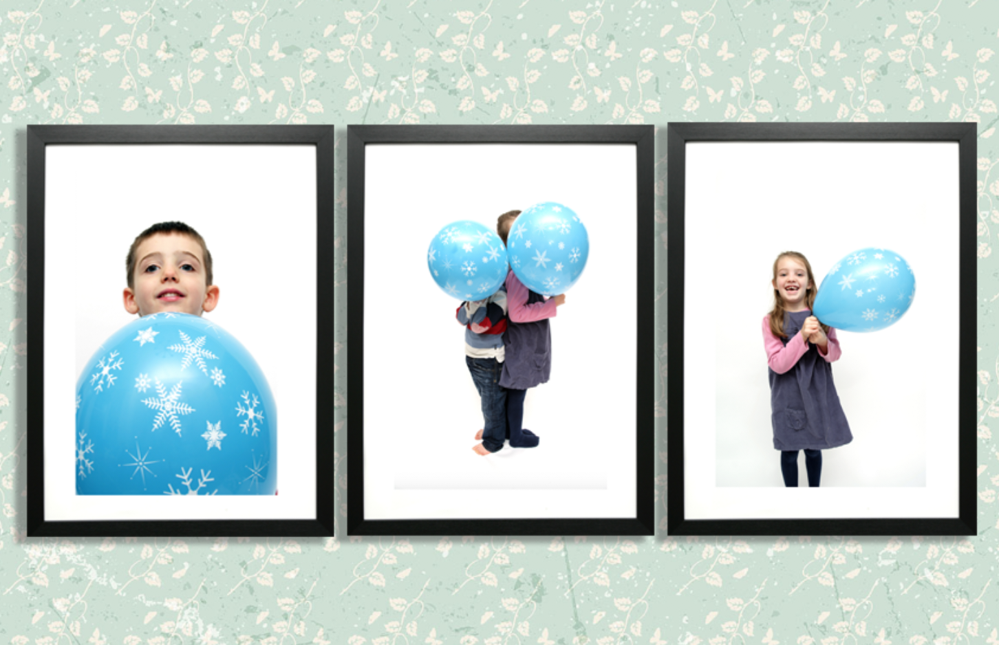 For this family's wall art package we used the balloon photographs from the session to create this set of three framed prints.