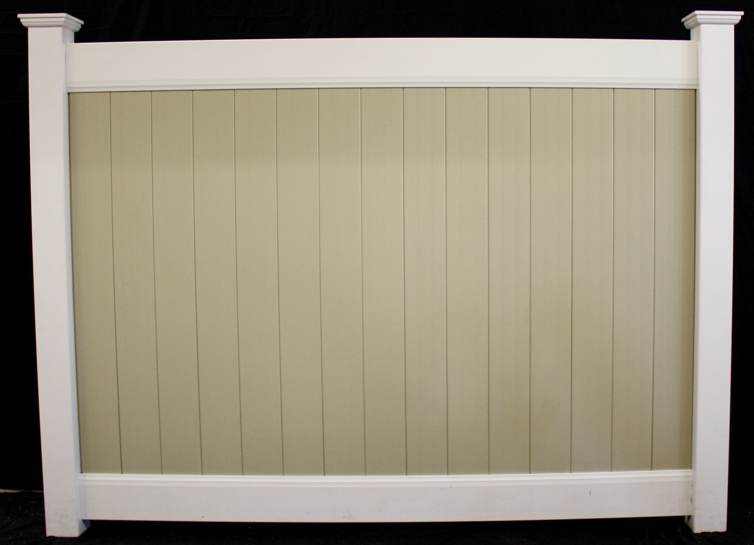 Two tone beige tongue and groove boards white rails