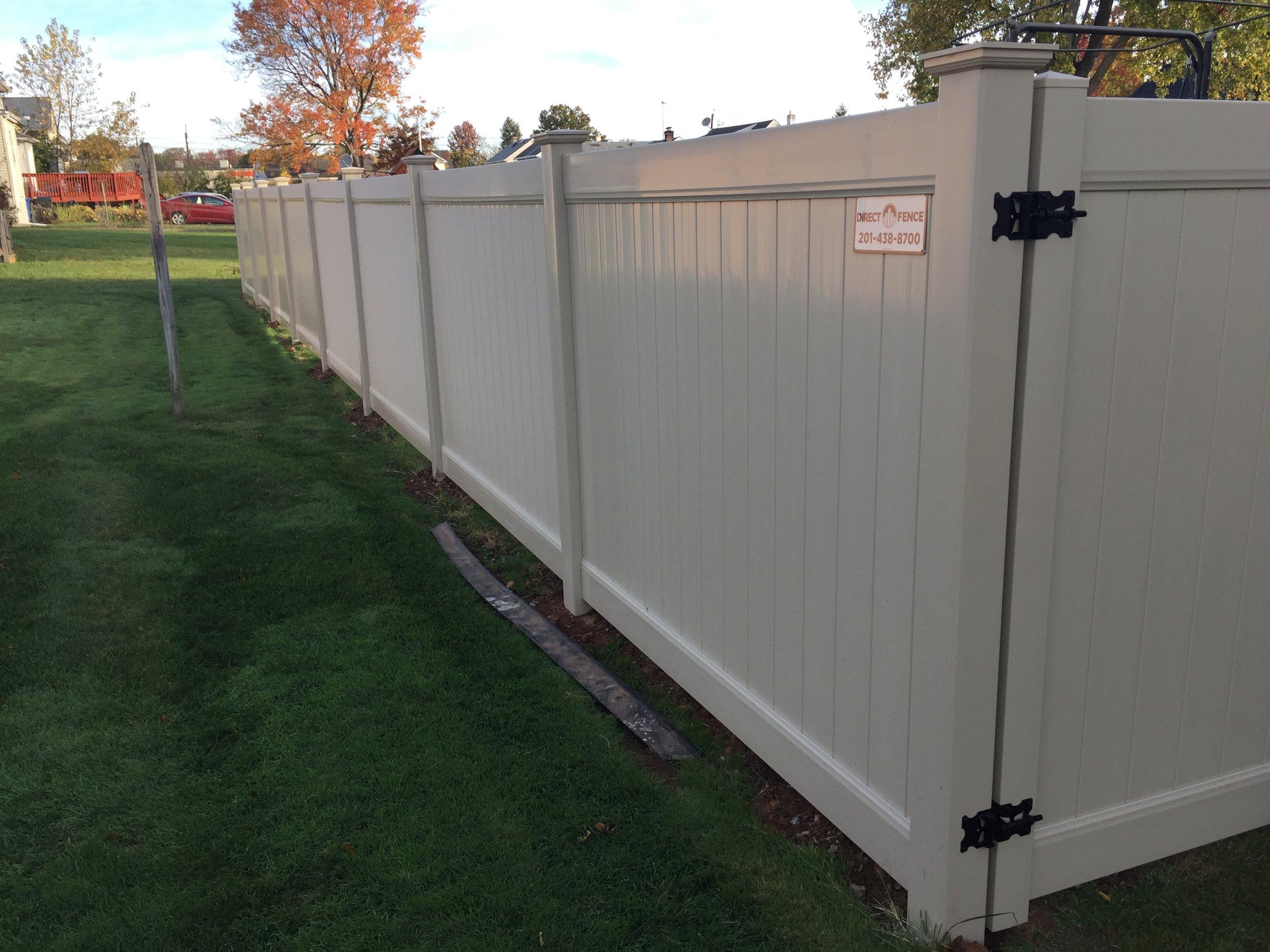 Tan vinyl fence NJ