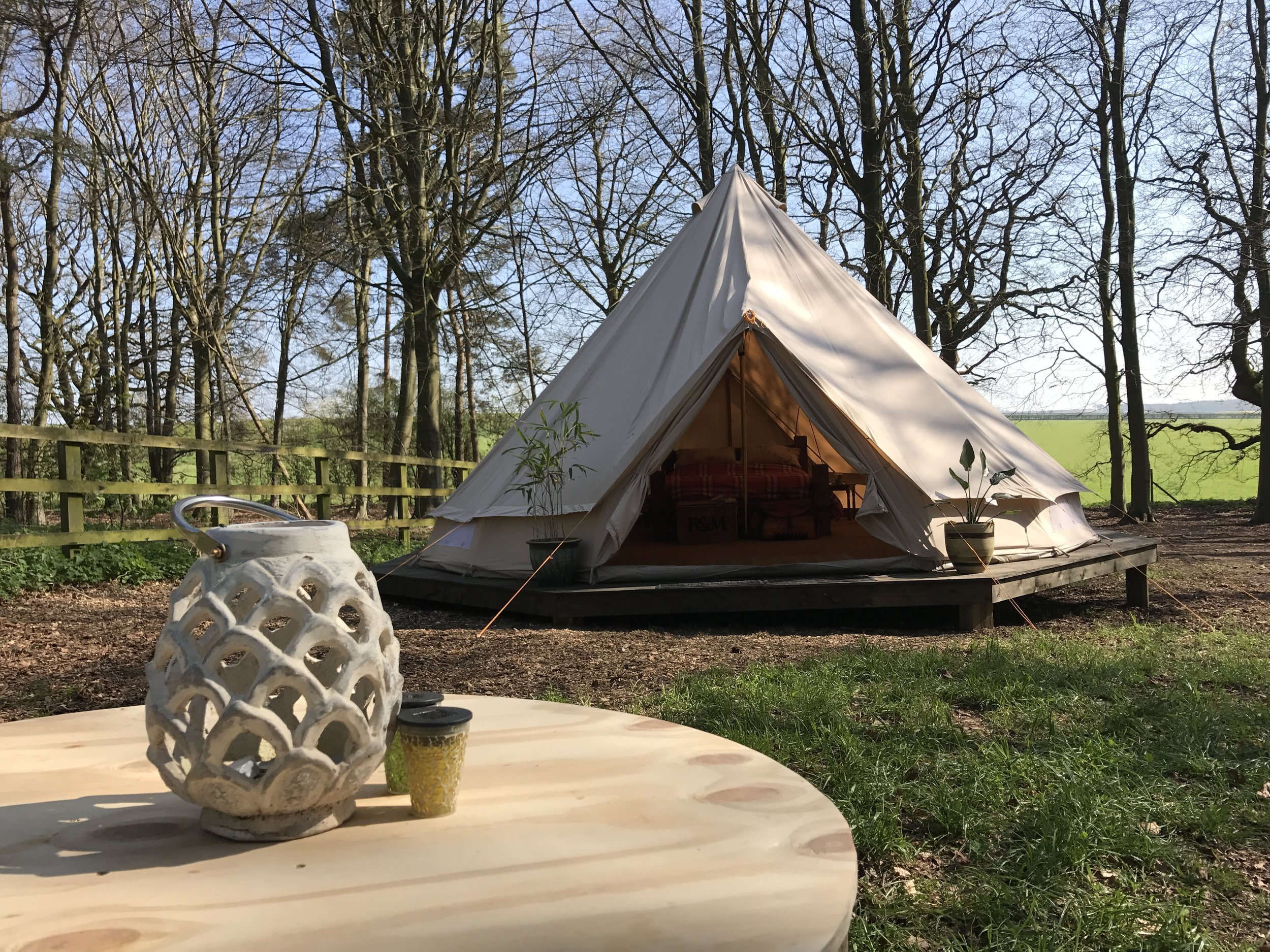 Our Brand New 6m Queenie Bell is up and raring to go. We thought we'd add another King Size Bed as I know we love a big bed and the occasions when the bambinos creep in means you won't be so tight on room. We also added 2 single beds which can be used alone or pushed together.  Camping Plates, bowls, cups, cutlery are included - BBQ, Washing up bowl & Gas camping stove. All with a Beautiful Woodland Garden to immerse yourselves in.  Email hello@happyvalleynorfolk.co.uk or call Katy on 01485 600719